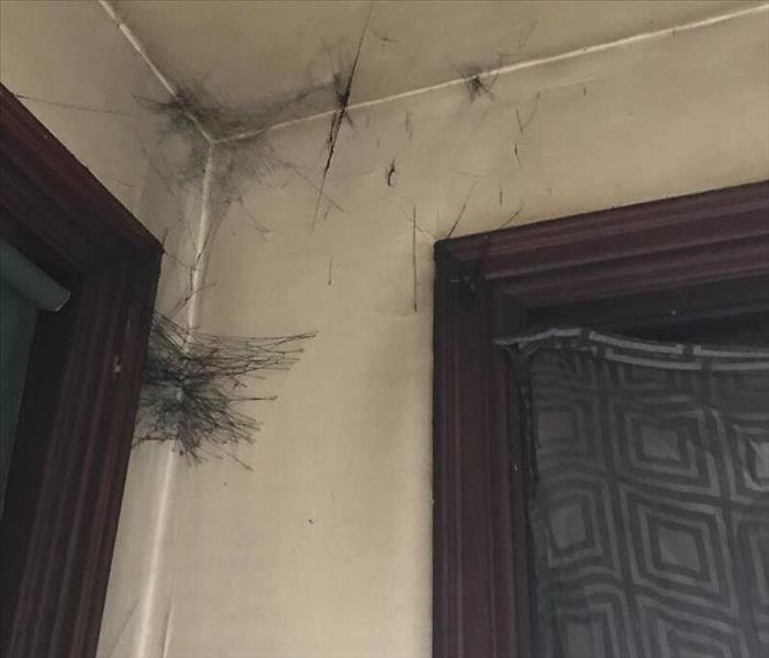 Soot Webs in Corner of room formed after a house fire.